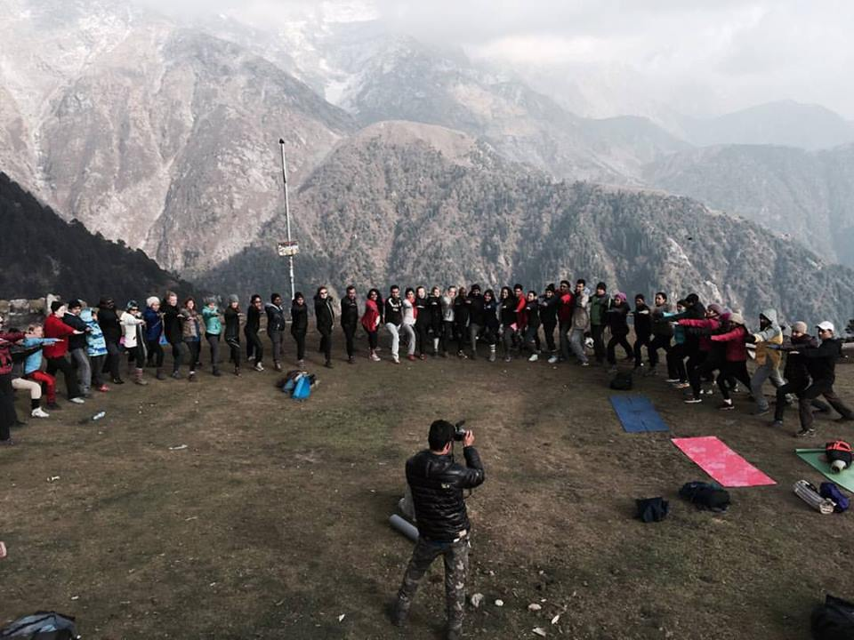 50 Yogis atop Triund Hill at our Himalayan Yoga Adventure, Mcleodganj, Nov 2015